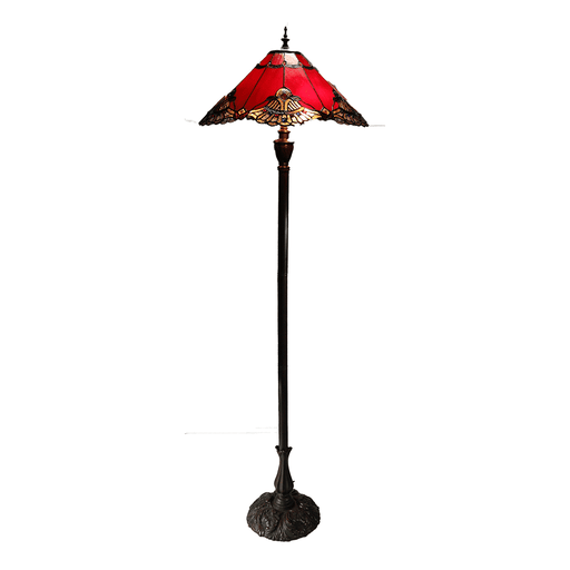 Benita Leadlight Tiffany Floor Lamp - Red