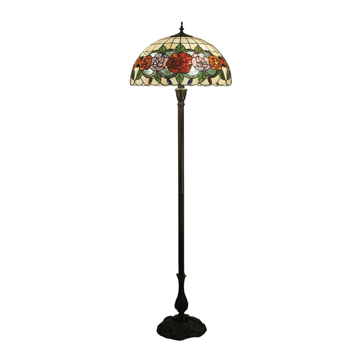 Red Rose Tiffany Floor Lamp