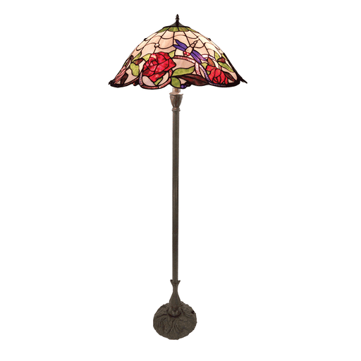 Rose and Dragonfly Tiffany Floor Lamp