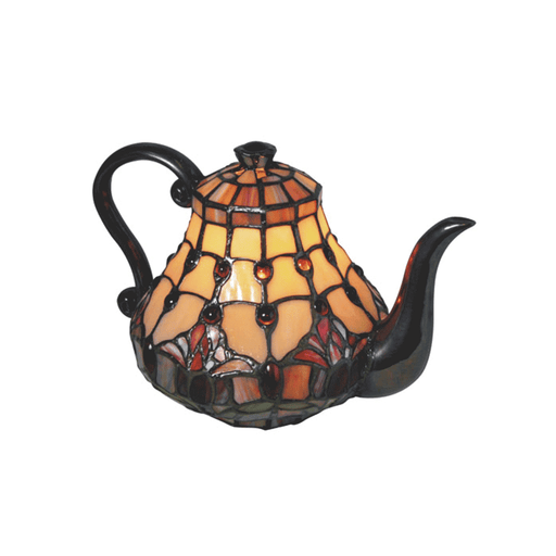 Red Tulip Teapot Leadlight Tiffany Table Lamp