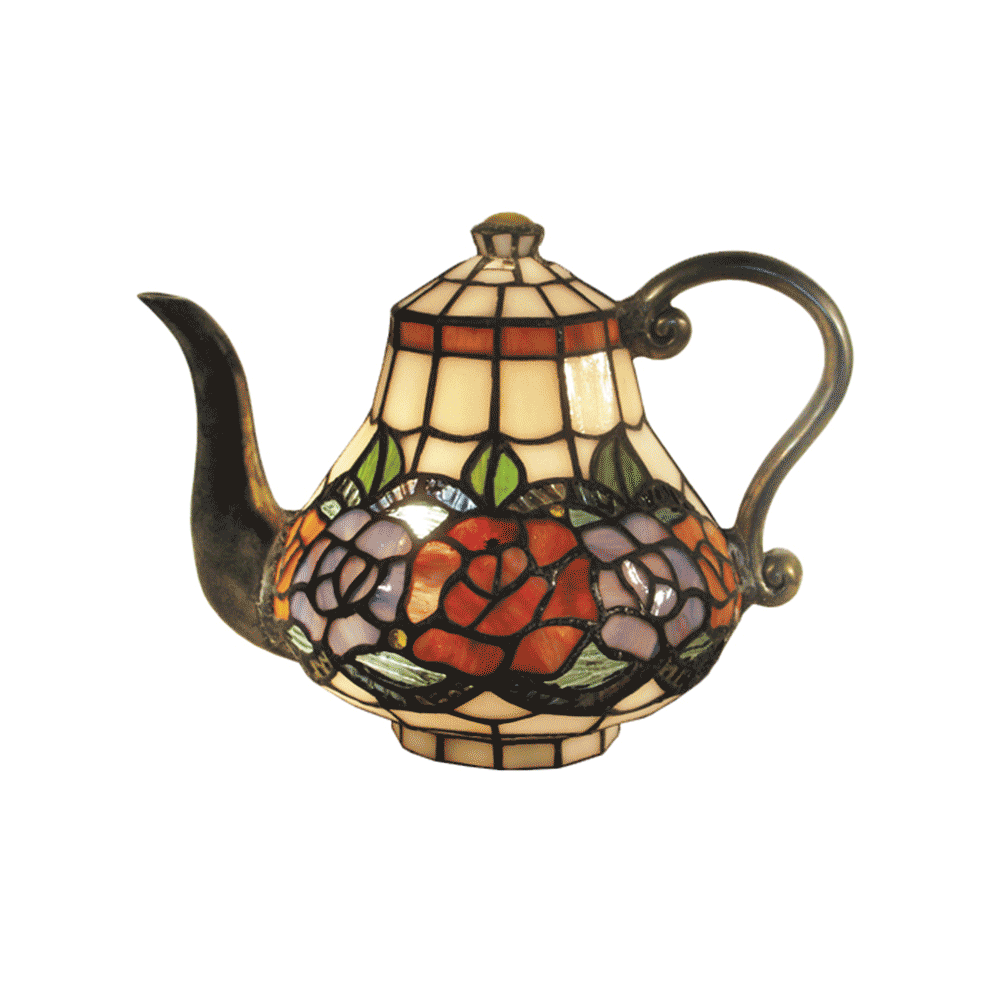 Rose Teapot Leadlight Tiffany Table Lamp