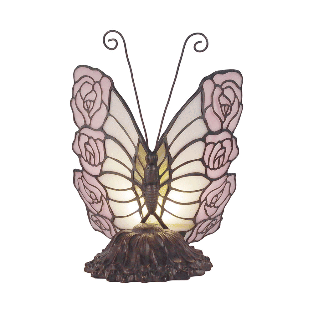 Rose Butterfly Tiffany Table Lamp