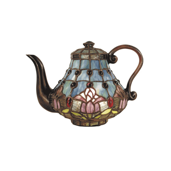 Mauve Tulip Teapot Tiffany Table Lamp