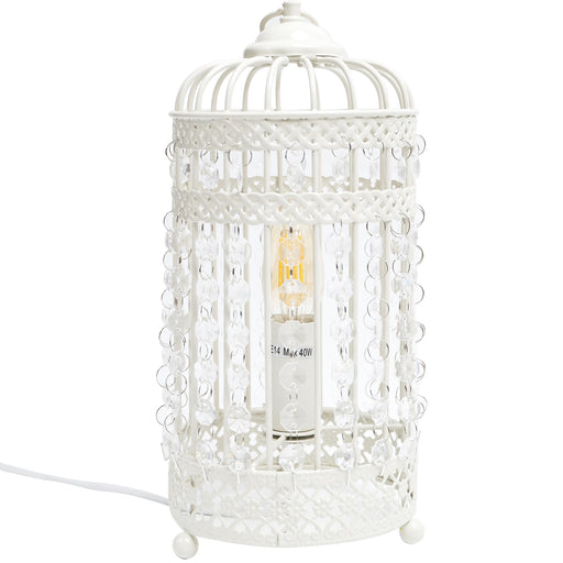 Harmony White Iron Birdcage Table Lamp