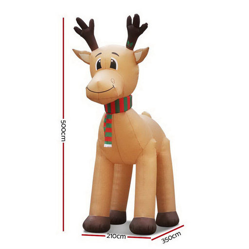 5M Christmas Inflatable Reindeer Giant Deer Air-Power Light Inside