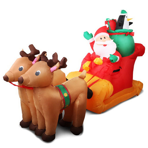 Jingle Jollys 2.2M Christmas Inflatable Santa Sleigh Ride Reindeer Deer Decor