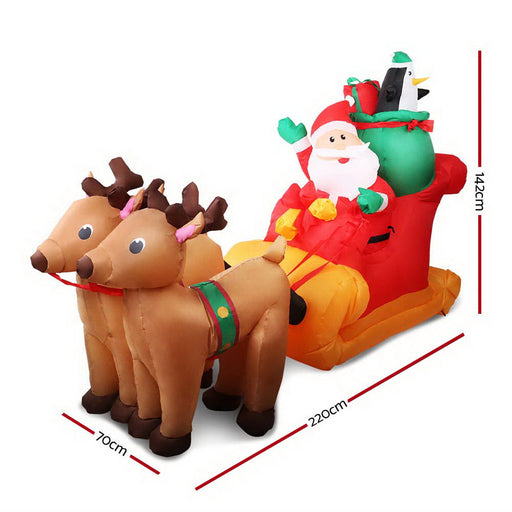 2.2M Christmas Inflatable Santa Sleigh Ride Reindeer Deer Decor