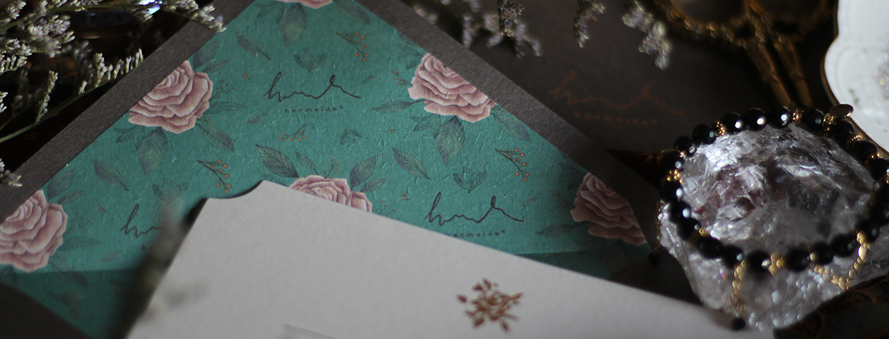 henmeide envelope and letter with vintage rose illustrations