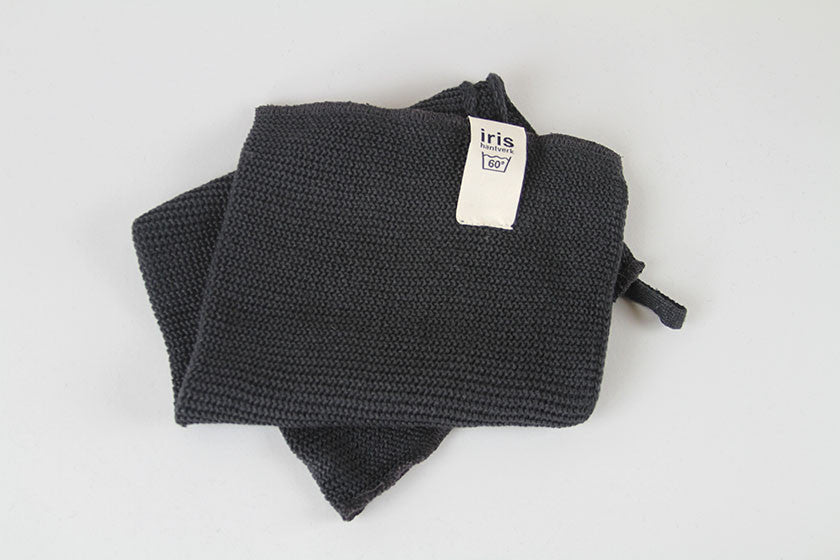 Knitted Small Bath Towel Dark Grey