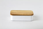 Enamel Butter Case With Wood Lid