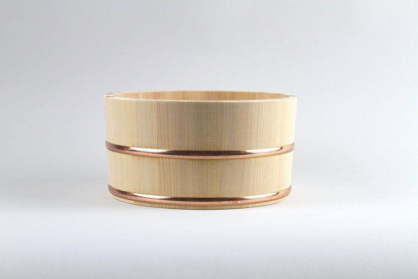 Hinoki Cypress Bucket with Copper Rings - Lifestyle