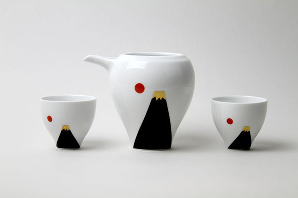 Mt. Fuji and Moon Porcelain Sake Pot & Cup