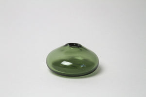 Flower Bud Vase Flat Round - Forest Green