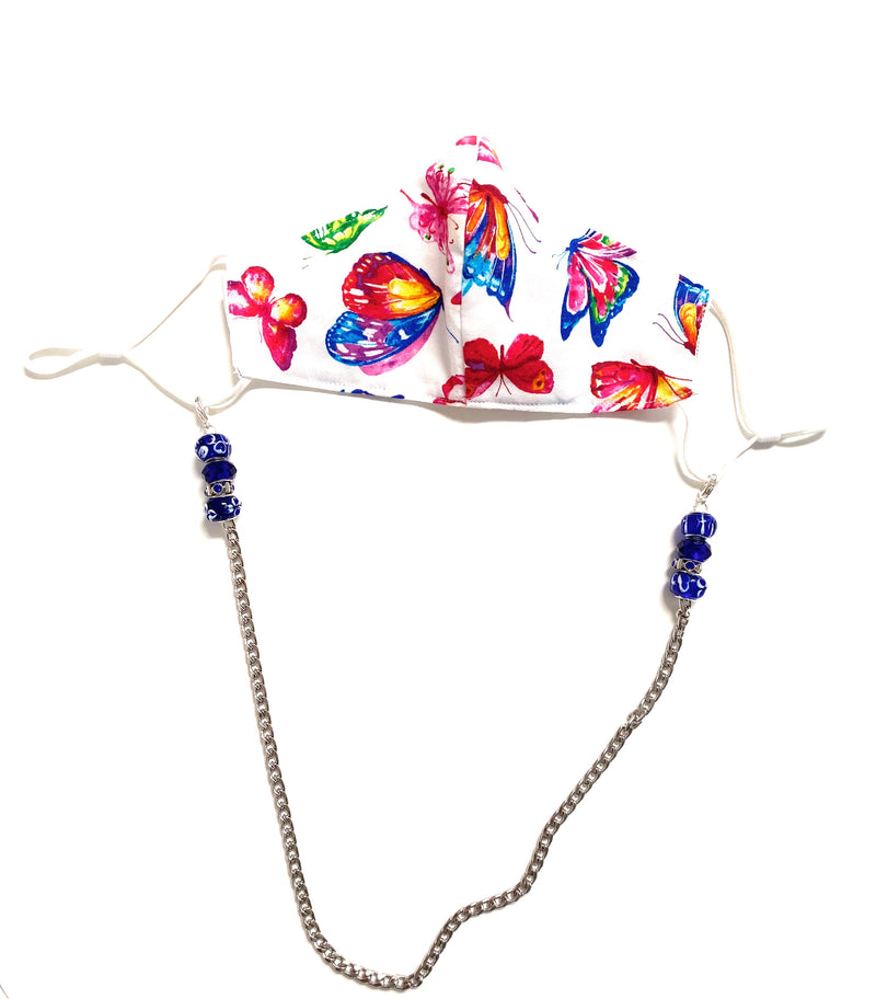 Face Mask Chain with Blue Beads