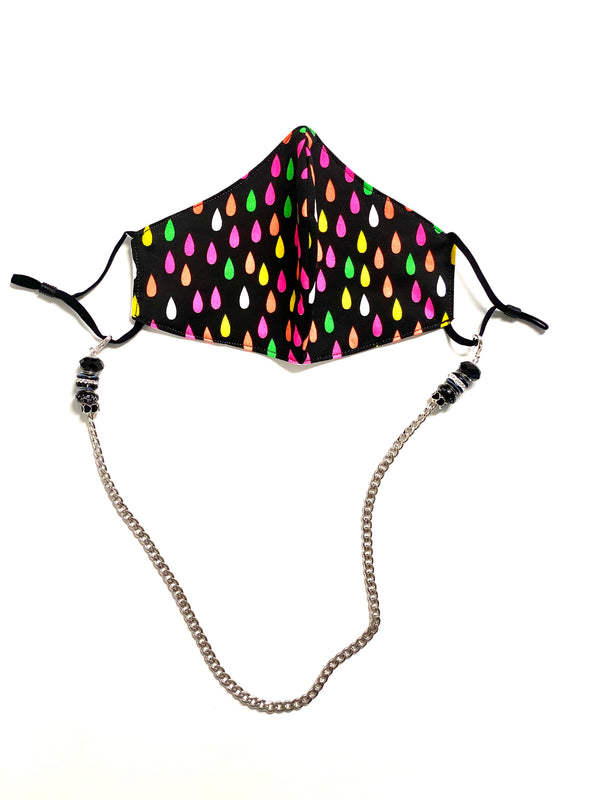 Face Mask Chain with Black Beads