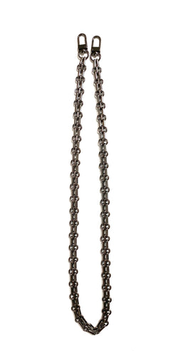 Black Metallic Face Mask Double Chain
