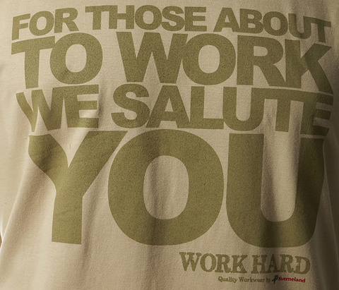 """For Those About To Work..."" T-Shirt - Light Sand"