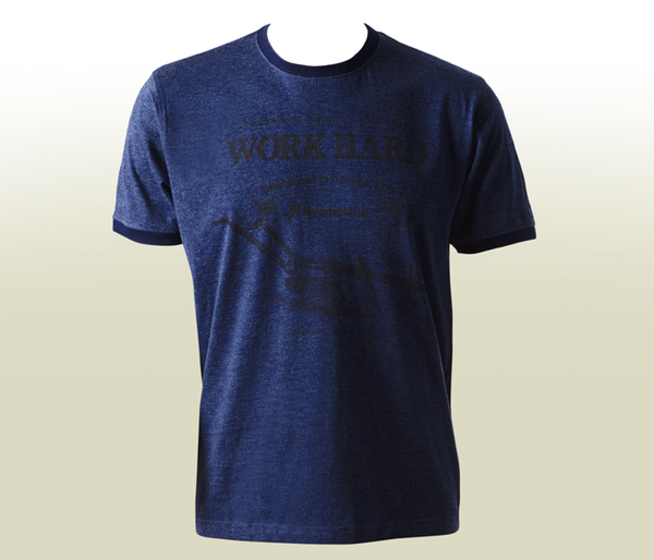 """Work Hard"" Mélange T-Shirt - Navy"