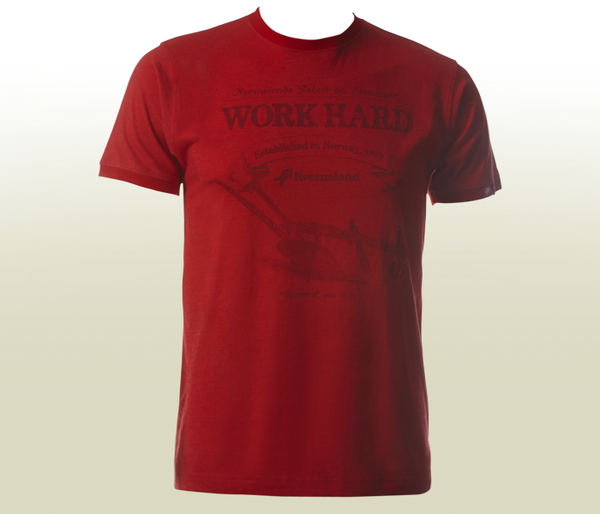 """Work Hard"" Mélange T-Shirt - Red"