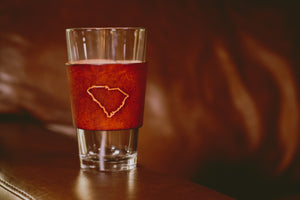 Pint Glass w/ Handcrafted Leather Wrap (States)