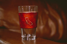 Load image into Gallery viewer, Pint Glass w/ Handcrafted Leather Wrap (States)