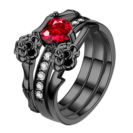 Women's Red Crystal Black Rose Flower Ring Set Wedding Jewelry