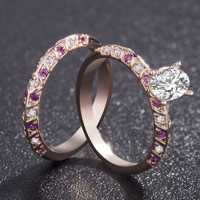 18K Rose Gold Filled Oval Cut Wedding Engagement Solid Ring