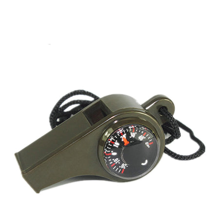 3 in 1 Outdoor Camping Gear Tool Kit Multi-Function Whistle Compass Thermometer