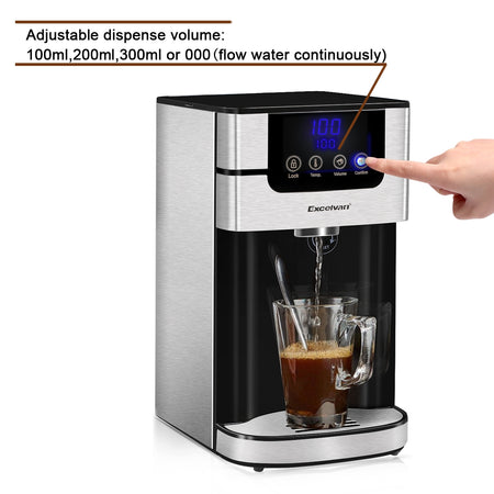 Excelvan Electric Digital Instant Hot Water Dispener Boiler Kettle, Maximum 2600 Watts, 4 Litre Capacity, Energy-Saving Ideal for Hot Beverages Kitchen/ Office Use, 2X Free Strix Water Filters, Black