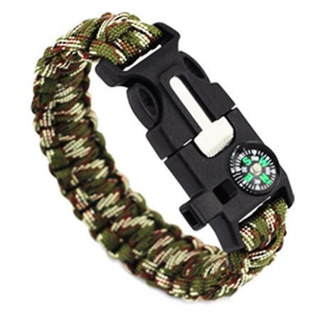 5 In 1 Outdoor Survival Gear Escape Bracelet Flint Whistle Compass Scraper