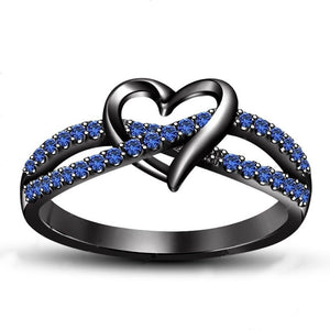 Ladies Fashion Heart Shaped Sapphire Zircon 14K Black Gold Ring