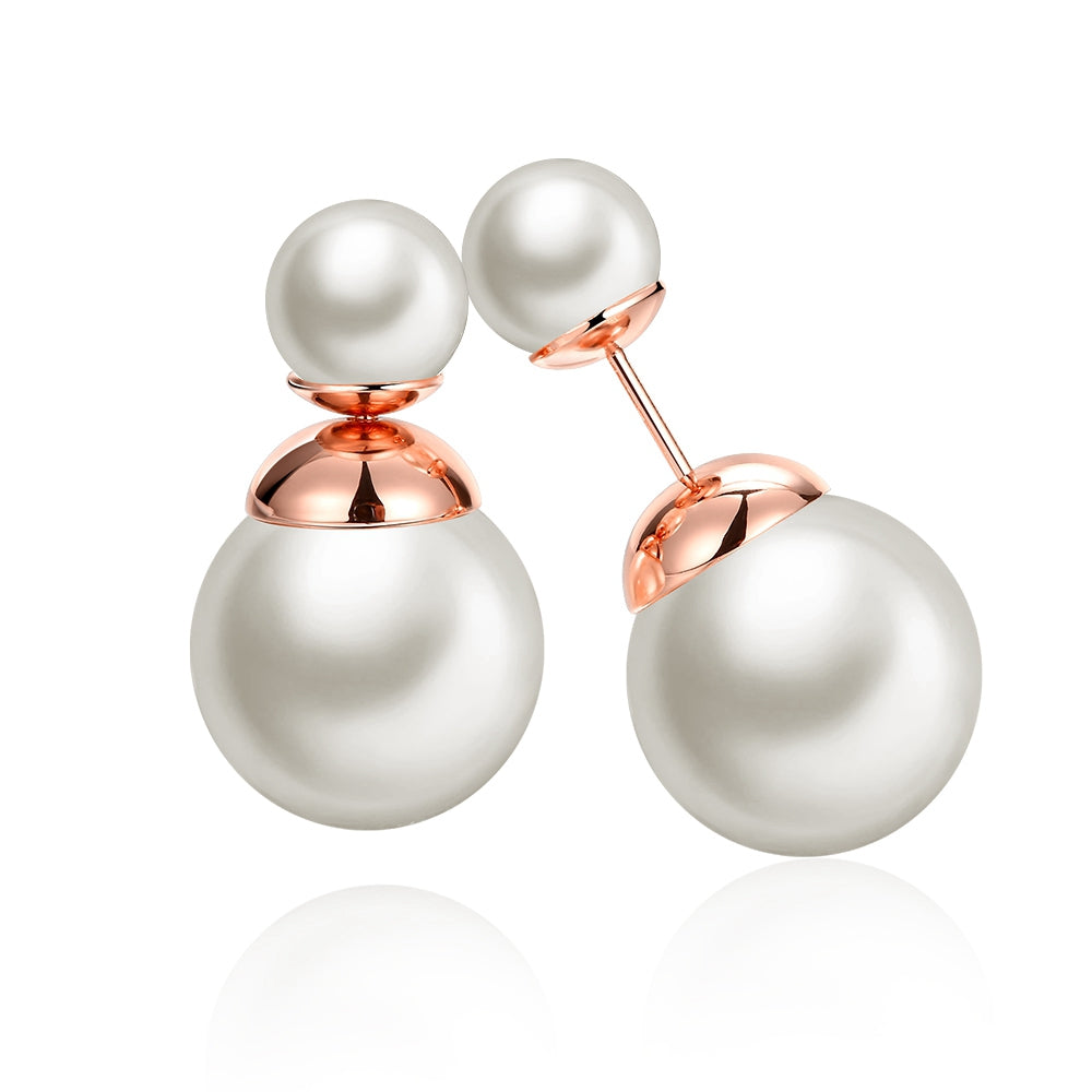 Fashion K Gold  Round Pearl White Rose Gold Lady Earrings