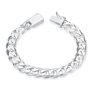 10MM Square Buckle Side Tattoo  Men's Geometric Silver Chain Bracelet