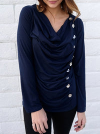 Cowl Neck Long Sleeve Button Embellished Blouse For Women