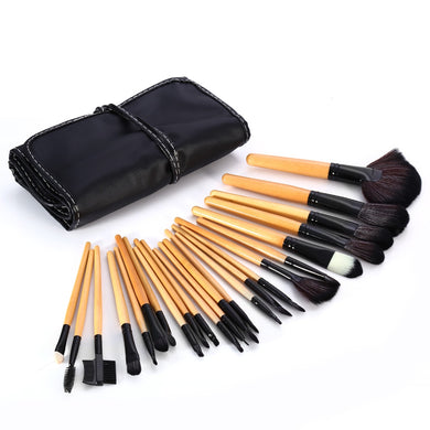 24PCS Synthetic Hair Burlywood Makeup Brushes Powder Eyeshadow Eyeliner Lip Cosmetic Brush with PU Storage Bag