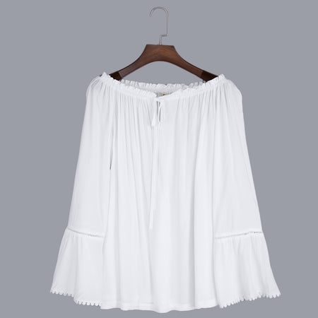 Sweet Off The Shoulder Flare Sleeve Lacework T-shirt for Women