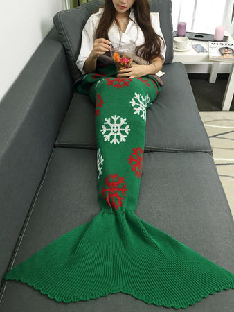 Christmas Snows Design Knitted Mermaid Tail Blanket
