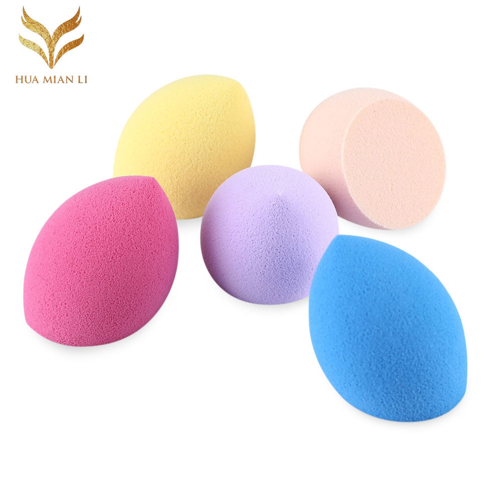 Huamianli 5pcs Portable Foundation Smooth Blender Mixing Sponge Makeup Cosmetics Puff