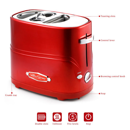 NOSTALGIA ELECTRICS Pop-up Hot Dog Toaster Bread Maker