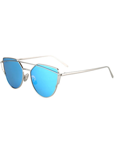 Fashion Metal Bar Silver Frame Sunglasses For Women