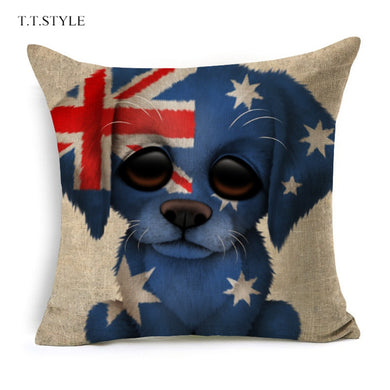 T.T.STYLE Dog with Flag Colored Drawing Pillow Case