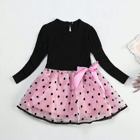 Baby Toddlers Kids Girls Pink Dot Tutu Dress Party Sundress Long Sleeve Clothes1