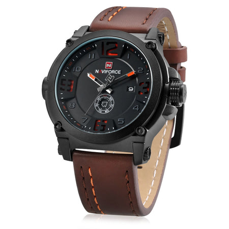 NAVIFORCE 9099 Quartz Men Wristwatch with PU Band