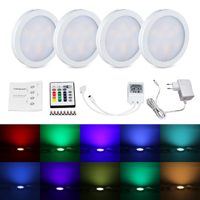 RGB LED Under Cabinet Lighting Kit 4 PCS for Garage, Kitchen, Office , bookshelf, Workbench, Closet Under Lighting EU