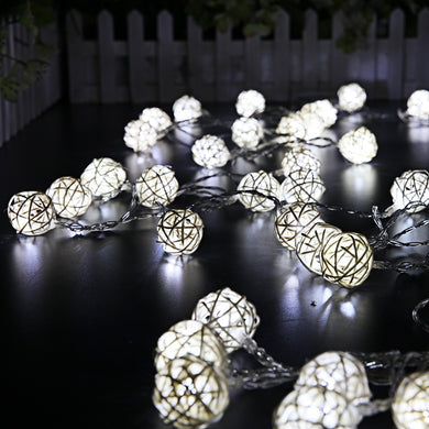 5m 40 LEDs Rattan Ball Fairy String Lights