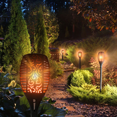 Utorch LED Solar Flickering Flame Torch Light Landscape Lighting