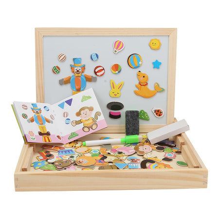 Wooden Magnetic Puzzle Kids Jigsaw Drawing Board Educational Toys