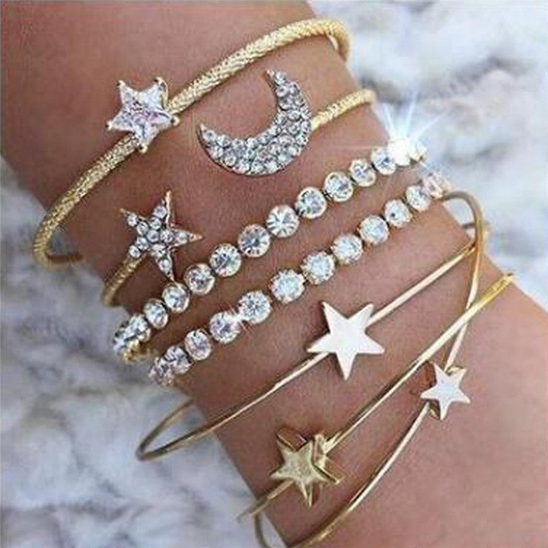 4pcs Braclet Set Stainless Steel Crystal Braclet Women Screw Hand Fashion Star Moon Love Wedding Cuff Bangle Bracelet