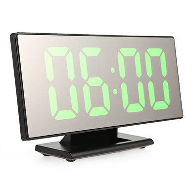 Digital Mirror Surface Alarm Clock with Large LED Display USB Port for Bedroom