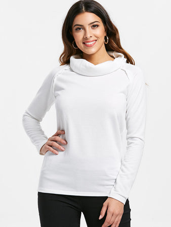 Stylish Turtleneck Long Sleeve Solid Color Women's Sweatshirt